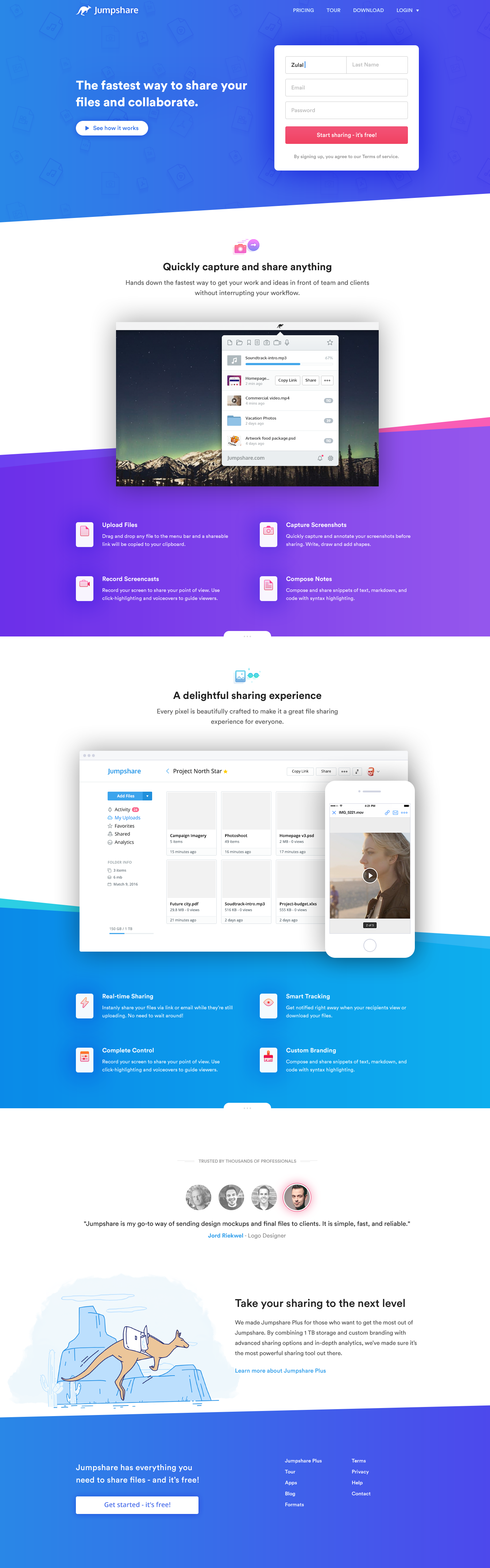 Jumpshare Landing Page